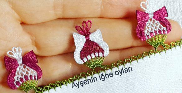 Osmanlı lale motifi, iğne oyası modeli anlatımlı yapılışı